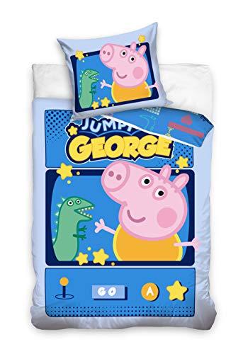 Peppa Pig George - Juego de funda nórdica y funda de almohada reversible (160 x 200 cm y 70 x 80 cm, algodón)