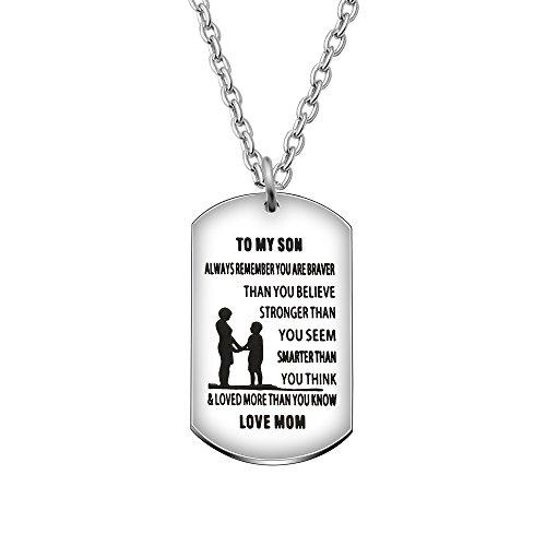 agr8t Anhänger Halskette to my Son Aufschrift You Are Braver stärker Schlauer als Sie Believe Love Mom Familie Geschenk