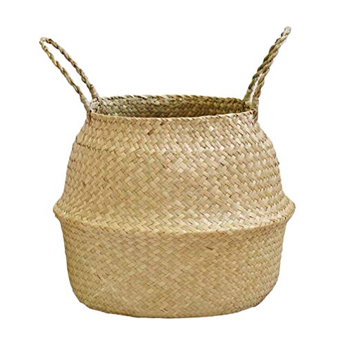 MEILEQI Pentola Pieghevole Appeso Cestino Tessuto Cestino con Manico, Cestino Pieghevole di stoccaggio di Vimini, Bamboo Seagrass Flower Pot m (Size : XL)
