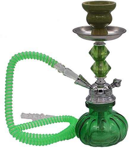 Colorful Beatle vase Mini Hookah 1 Hose narguile Pipes Small Shisha Smoking idea Gift - Stem Style May Vary - no Tobacco - no Nicotine (Green)