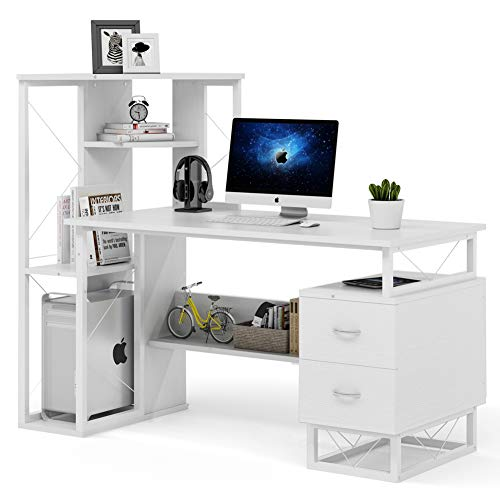 Tribesigns Computer Desk with Drawers, Functional Writing Desk with Corner Tower Shelves Works as Home Office Compact Workstation Desk for Small Space (All White)