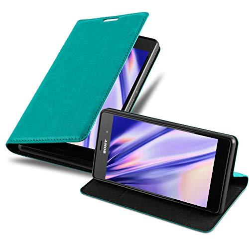 Cadorabo Hülle für Sony Xperia Z3 - Hülle in Petrol TÜRKIS – Handyhülle mit Magnetverschluss, Standfunktion & Kartenfach - Hülle Cover Schutzhülle Etui Tasche Book Klapp Style