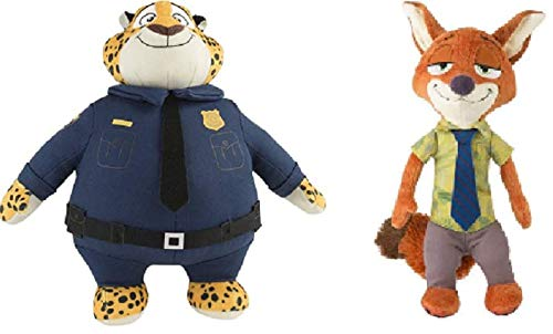 Zootopia Authentic Nick Wilde & Officer Clawhauser Stuffed Plush Disney Movie