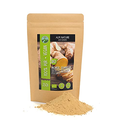 Organiskt ingefära pulver, malet ingefära från kontrollerad organisk odling, ingefära pulver, 100% naturligt, utan tillsatser, glutenfritt, laktosfritt, laboratorietestat, vegan (250 GR)