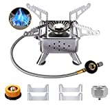 Upgrade Portable Camping Stove Burner, Windproof Backpacking Stove with Piezo Ignition,Strong Firepower Camping Gas Stove, 2 Types Propane Butane Stove Adapter, Folding Lightweight Stove for Outdoor Hiking Cooking