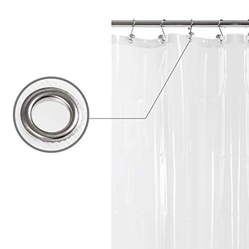 Small Shower Curtain or Liner with 3 Magnets for Shower Stall Size 36 x 72 Inches, PEVA, Waterproof, PVC Free, Metal Grommets, Clear, 36x72