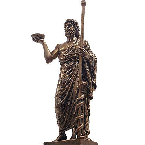 Escultura,Escultura, De Esculapio De Grecia Antigua, Estatua De Personaje De La Edad Media, Figura Retro De Escritorio De Resina, Figuritas, Decoración del Hogar