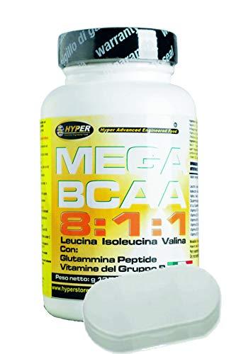 BCAA 8:1:1 Aminoácidos Ramificados + Titular de pastillas con Péptido de Glutamina Grupo de Vitaminas B | 200 tabletas 270 gr 8 Leucina, 1 Isoleucina 1 Valina Aumento de la Masa Muscular Recuperación