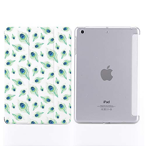 YCCY Beautiful Feather Pad Case Cover for iPad Air White Case Peacock Feather for Women Anti-Scratch Shockproof Lightweight Smart Trifold Stand Cover Soft TPU Cover for iPad Air