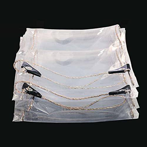 Cubierta De Lona Impermeable, Cubierta De Lona Resistente, Lona Transparente con Cuerda, Ideal para Toldo De Jardín, Balcón, Carpa, Barco