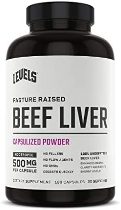Levels Beef Liver Pasture Raised No Hormones Undefatted Desiccated 500mg Each 180 Capsules product image