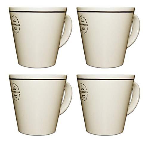 OLPro Lot de 4 Tasses en mélamine Blanc 9,5 cm