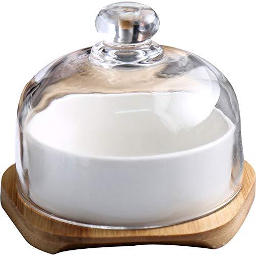 Umoraドーム型蓋付き デザートカップ スナックプレート セラミック ガラスカバー ディスプレイ (シングル 120ml)