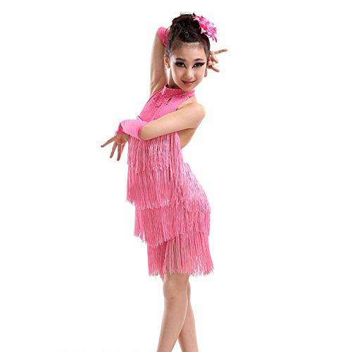potente para casa ESHOO vestido de baile latino de salsa, con borla para niñas, traje de baile sin mangas con cuello halter para niñas de 4 a 11 años