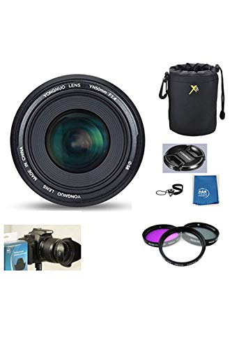 Yongnuo EF 50mm F1.8 Standard Prime Lens Kit for Nikon DSLR Camera with Set of 3 Filters, case, Hood, Cleaning Cloth and USA Warranty.