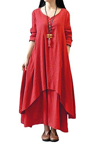 Romacci Femme Robe en Vrac Maxi Manches Longues Col V Boho A-Lin Tunique Lace Large Casual Longue, Rouge, XXX-Large