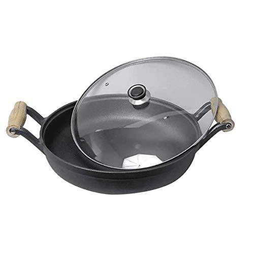 Cacerola negra - sartén antiadherente hecha de hierro fundido, sartén con tapa de vidrio diseñada en ambas orejas de hierro fundido