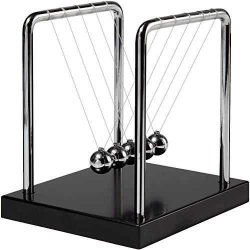 Newtons Cradle Balance Balls with Black Wooden Base Fun Science Physics Learning Desk Toys Fun Gadget 5 Pendulum Balls for Office and Home Decoration-Black6