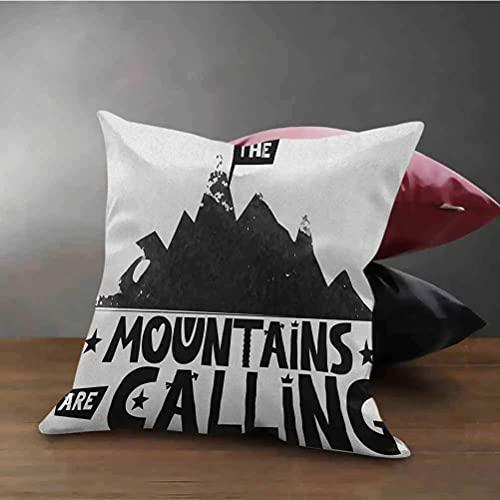 Zitat Kissenbezug Abdeckung Shams Mountains rufen Inschrift im skandinavischen Stil Klettern und Reisen Kissenbezug Protector mit Reißverschluss schwarz und weiß