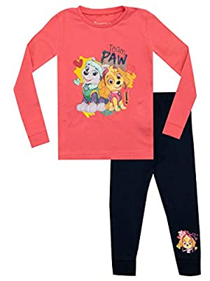 La Patrulla Pijamas de Manga Larga para niñas Skye y Everest Ajuste Ceñido Rosa 2-3 Años por