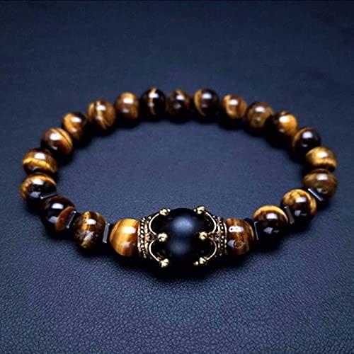 SONGK Vintage Crown Charm Bracelet para Hombres Moda de Lujo Ojo de Tigre Natural Pulseras de Cuentas de Piedra Joyería