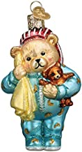 Old World Christmas Ornaments Bedtime Teddy Bear Glass Blown Ornaments for Christmas Tree