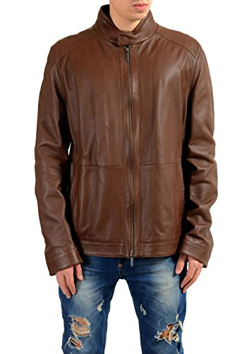 "Hugo Boss ""Nokam 100% Leather Brown Full Zip Men's Basic Jacket Sz US 46R IT 56R"