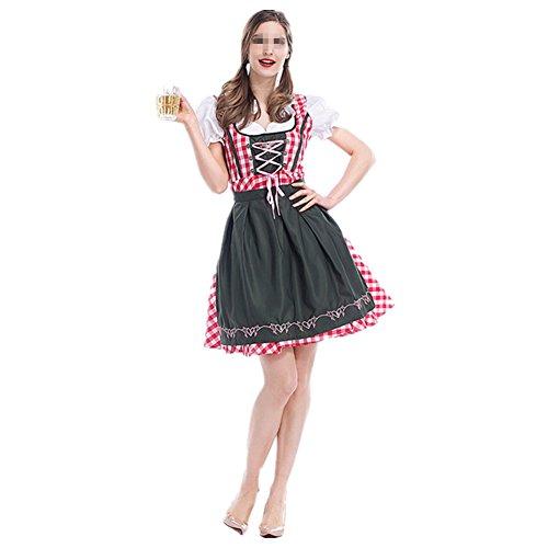 Disfraz de bavara Mujer Vestido Cosplay de Oktoberfest Disfraz de Criada Vestuario Carnaval Talla L