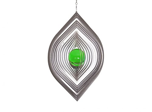 Illumino Edelstahl-Windspiel Blatt mit smaragdgrüner 35mm Glaskugel