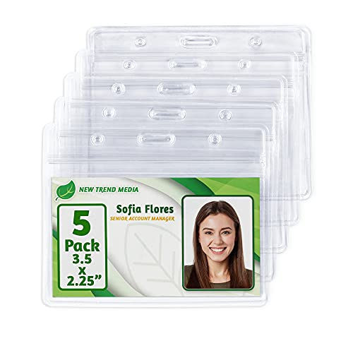 EcoEarth Horizontal ID Badge Holder (Sealable Fits 3.5x2.25 Inch Inserts) (5 Pack), Waterproof ID Holder Bulk, ID Card Holder, Name Badge Holder, Name Tag Holder, Plastic Badge Holder, Clear Card ID