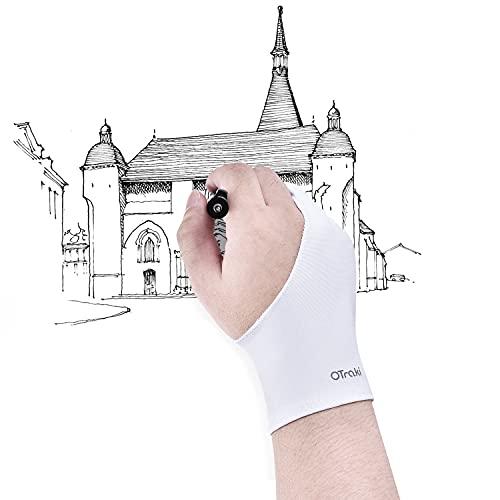 OTraki Guanto per Disegnare sul Tablet Antivegetativa 4 Pezzi Guanti per Tavoletta Grafica Taglia Universale con Due Dita Guanti Artista per Mano Destra e Mano Sinistra (8.2 × 20.5cm)