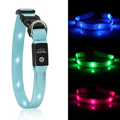 PcEoTllar LED Hundhalsband Leuchthalsband Klein Hund Leicht USB Wiederaufladbar Wasserdicht Einstellbar 1.5x38 cm Super Hell für die Nacht - Blau