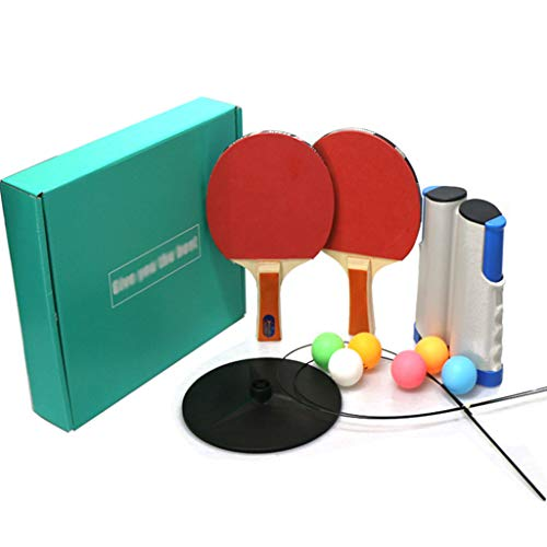 Draagbare Instant Table Tennis Set Uitschuifbare Tafel Tennis Net met 2 Bats en 6 Ballen Geschikt voor Kinderen Volwassen Binnen/Outdoor Vrije tijd Decompressie Oefening
