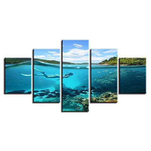 Woonkamer decor modulair canvas foto poster 5 stuks zeebodem duiken en vis zeestuk schilderij HD print muurkunst (geen lijst) 30x40 30x60 30x80cm