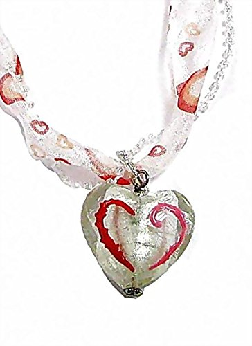 Linpeng Hand Painted Glass Heart Pendant Seed Beaded Ribbon Necklace W/Magnetic Clasp