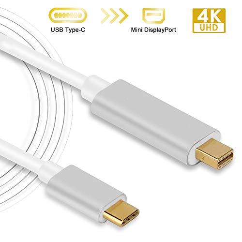 Cable USB C a Mini Displayport, USB-C Tipo C a Mini DisplayPort/Mini DP 4K 60 Hz Resolución Active Cable Adaptador 6 pies con Carcasa de Aluminio para MacBook Pro 2017 Samsung Galaxy S8
