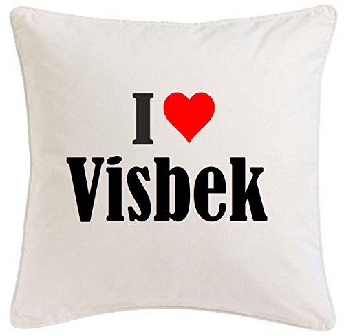 Kissenbezug I Love Visbek 40cmx40cm aus Mikrofaser geschmackvolle Dekoration für jedes Wohnzimmer oder Schlafzimmer in Weiß mit Reißverschluss