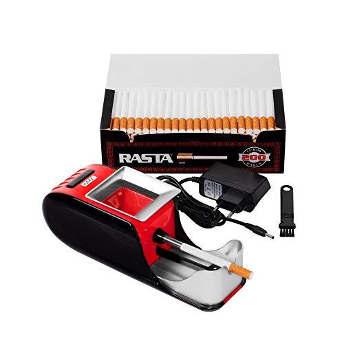 JeVx Maquina Liadora de Tabaco + 200 Tubos con Filtro RASTA - Entubador Electrico para LLenado de Cigarros Entubar Cigarrillos de Fumar Entubadora Electrica para Liar Rojo