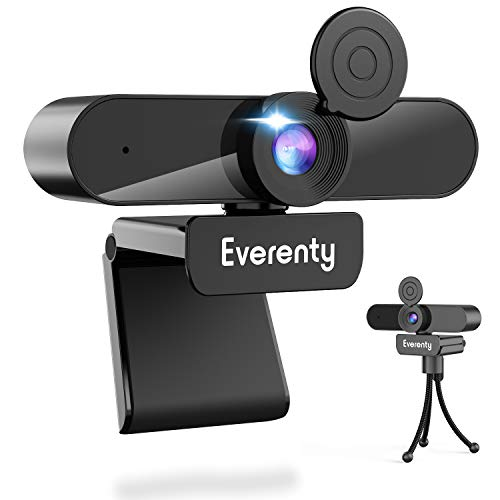 Everenty Streaming Computer Microphone Webcam Tripod Camera 120° Wide Angle 2K 1440P Stereo With Privacy Cover Laptop Mac PC Conference Gaming Zoom Teaching Recording Video Calling HD USB Light Stand