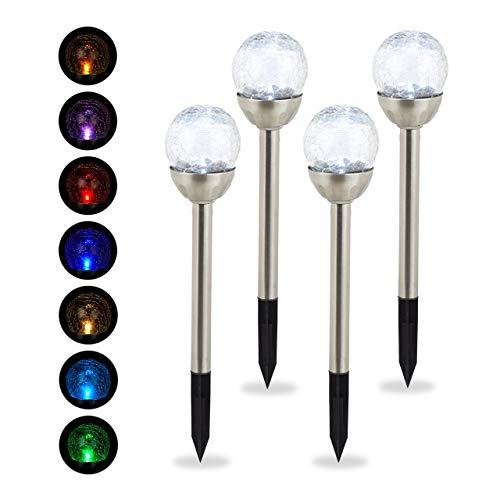 Relaxdays Gartenleuchte Glaskugel im 4er Set, wasserdichte LED Solarleuchten in Bruchglas Optik, Farbwechsel, silber