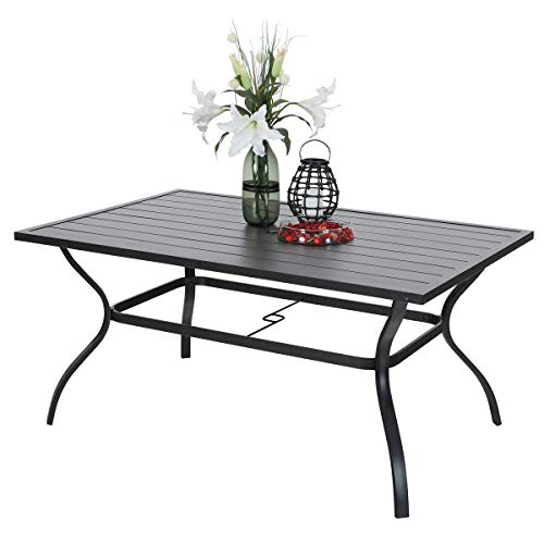"PHI VILLA Outdoor Patio 60""x38"" Rectangular Dining Table for 6 Person with Umbrella Hole - Black"
