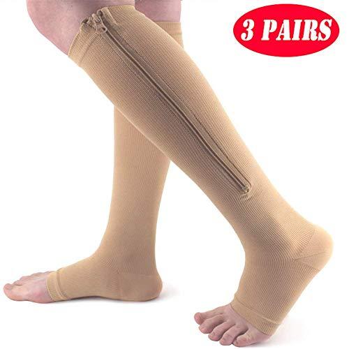 Dr.FITNESS 3 Pares Medias Calcetines de Compresión Punta Abierta Aumentar La Circulacion y Reducir La Hinchazón para Hombre y Mujer