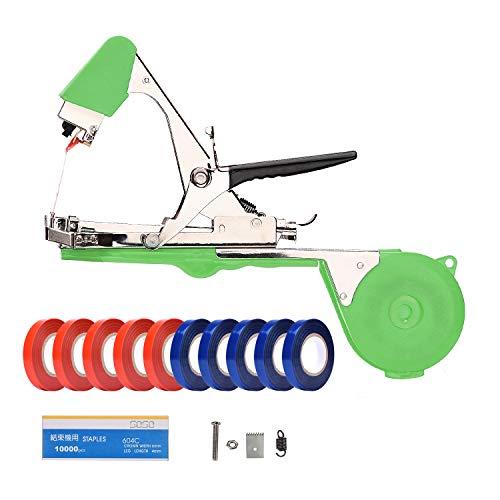 MoPei Herramienta para Atar Enredaderas, máquina para Atar Plantas de Tomate y UVA, Que Incluye Cintas, Grapas y Cuchilla de Repuesto (Verde)