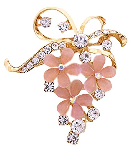 ookmngft Dame Brosche Perle Wasser Bohrer Weibliche Elegante Brosche Atmosphärische Pflanze Blume Strickjacke Schnalle Rosa (Katzenauge Stein Blumen)
