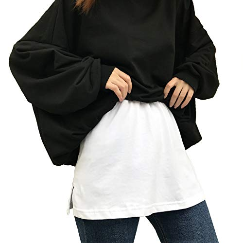 XYDD Adjustable Layering Fake Top Lower Sweep Skirt Half-Length, Short High Waist Skirt Adjustable Layering for Sweater, Sweatshirt, Jacket, Coat, and Other Casual Clothes White L