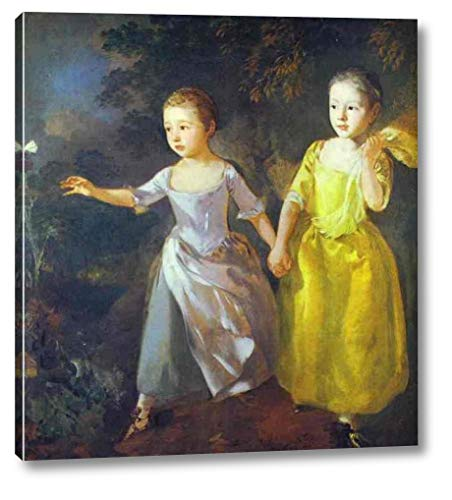 The Painter's Daughters, Margaret and Mary, Chasing Butterfly by Thomas Gainsborough - 22' x 24' Gallery Wrap Canvas Art Print - Ready to Hang