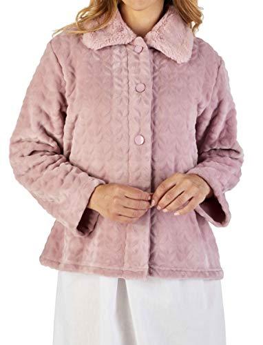 Slenderella Damen Hellrosa Luxusjacke aus weichem, dickem Samtfleece mit geknöpftem Kunstpelzkragen XX groß 50 52