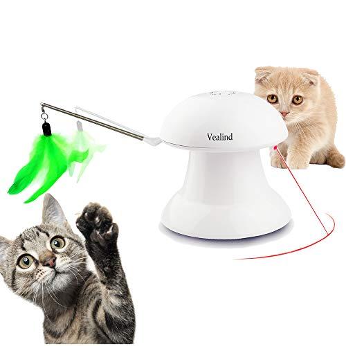 Vealind Automatisch Interactief Spel 2 in 1 Roterend Licht Kat Hondenspeelgoed Met Opladen via USB, 360 Graden en 4 Veer- en Lichtpatronen voor Huisdieren