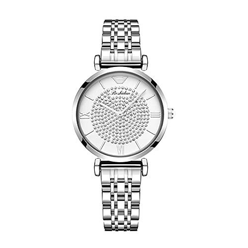qwert Moda Gypsophila Watch Women's Diamond-Studded Steel Band Watch Reloj de Mujer Impermeable,Blanco