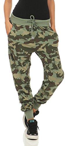 Malito Damen Sweathose im Camouflage Look | Baggy zum Tanzen | Jogginghose mit Knopfleiste | Sweatpants - Trainingshose 8019 (Oliv)